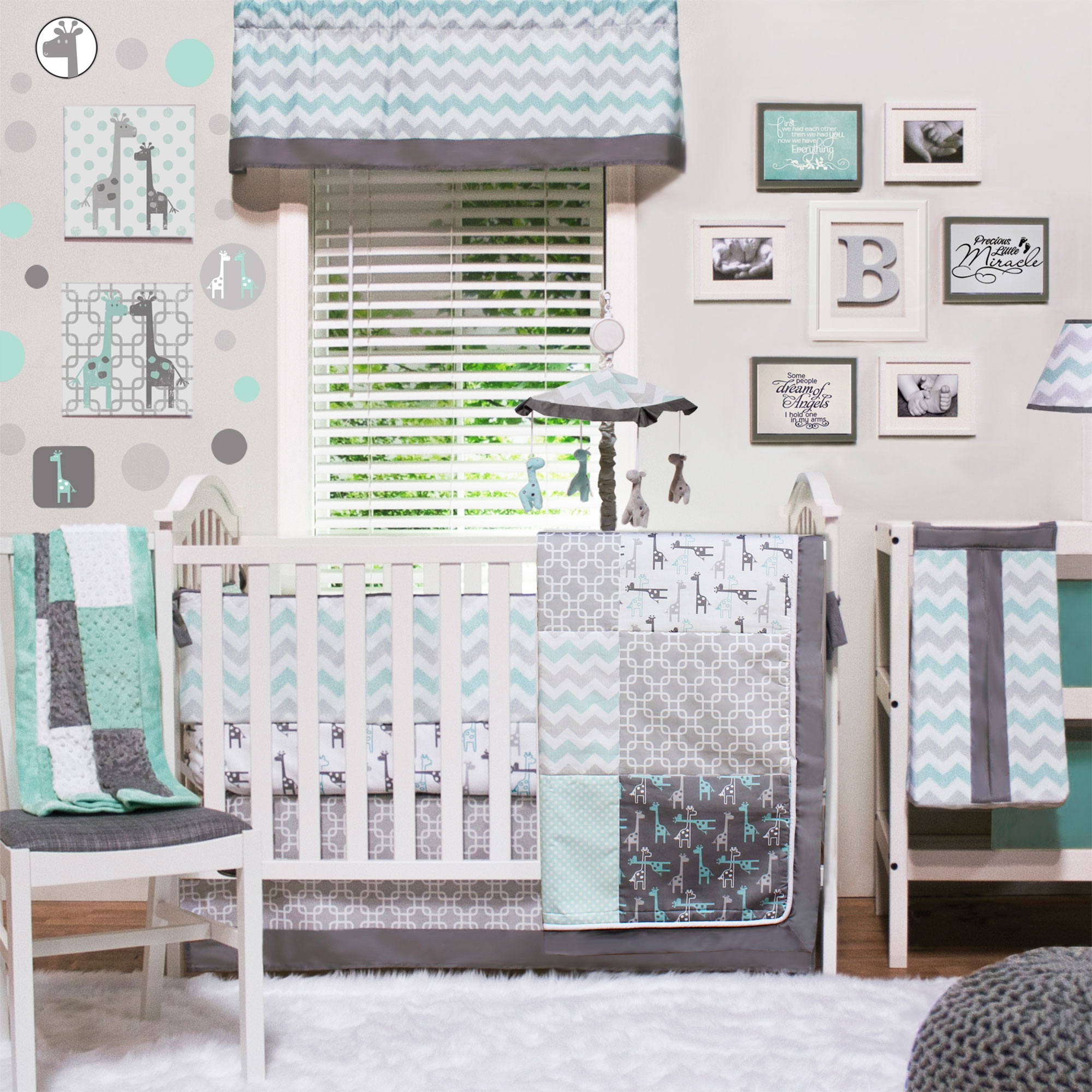 Peanut Shell Crib Bedding Set - Grey and Aqua - Uptown Gi...
