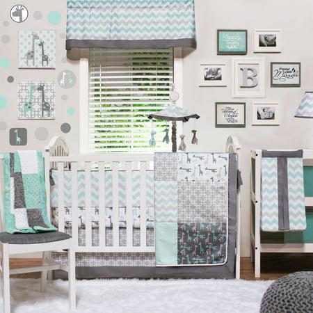 The Peanut Shell Crib Bedding Set - Grey and Aqua - Uptown Giraffe 4 Piece Baby Bedding Collection