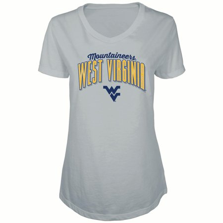 Cap Sleeve Matte - Women's Russell Heathered Gray West Virginia Mountaineers Tunic Cap Sleeve V-Neck T-Shirt