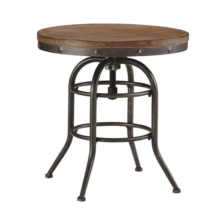The Urban Port Industrial Style Adjustable Swivel Metal Bar table, Black and Walnut Brown Finish