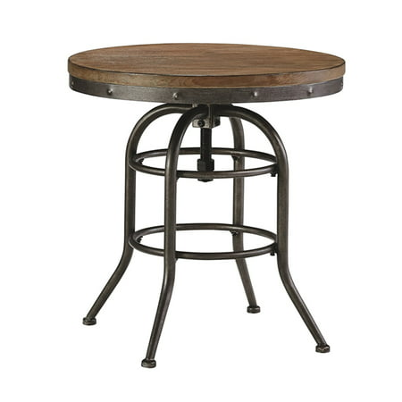 Style Black Finish Metal - The Urban Port Industrial Style Adjustable Swivel Metal Bar table, Black and Walnut Brown Finish