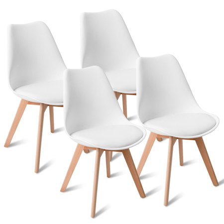 Gymax Set Of 4 Mid Century Modern Style Dining Side Chair Upholstered Seat Wood Legs