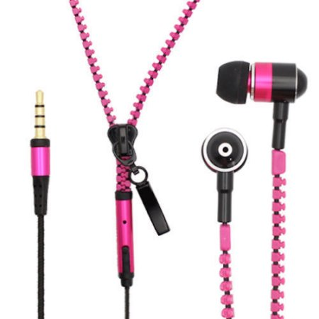 Pink Zipper Headphones Earphones Earbuds with Mic Microphone for Samsung Galaxy S8 S8 Plus Note 8 iPhone 6 6s Plus Cell Phones