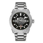Men's Bulova Watch, Embossed Bar & Shield Stainless Steel 76B169, Harley Davidson