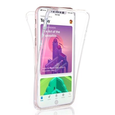 TSV Clear Full Body Cover Shockproof Slim Soft Silicone Rubber Phone Case Not Affect Face Scan for Apple iPhone X