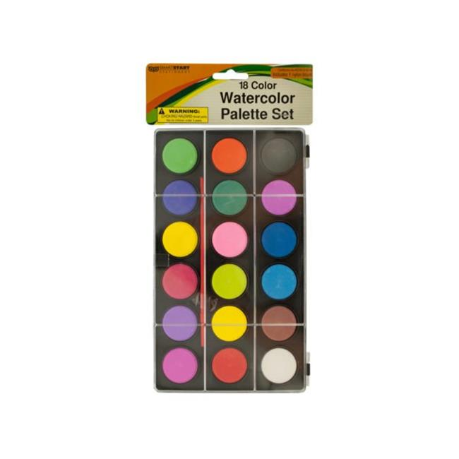 Kole Imports GR157-24 Watercolor Paint Palette Set with Brush - Pack of 24 - image 1 of 1