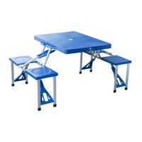 Deals on Outsunny 4 Person Plastic Compact Folding Picnic Table Set