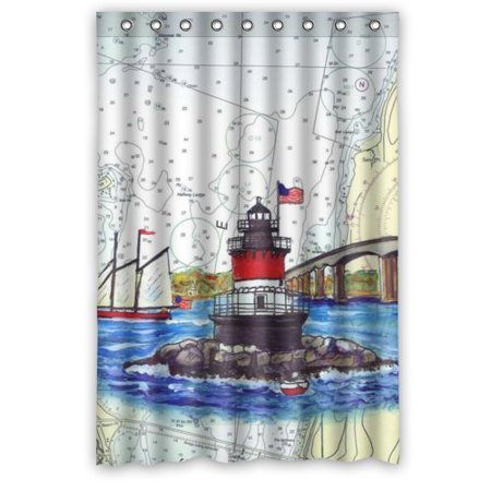 HelloDecor Sailboat Bridge Plum Beach Lighthouse Shower Curtain Polyester Fabric Bathroom Decorative Size 48x72 Inches