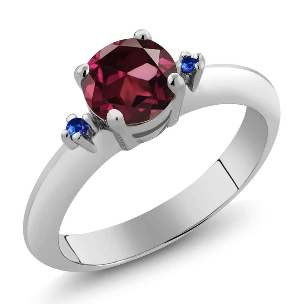 1.02 Ct Round Red Rhodolite Garnet Blue Sapphire Sterling Silver Ring