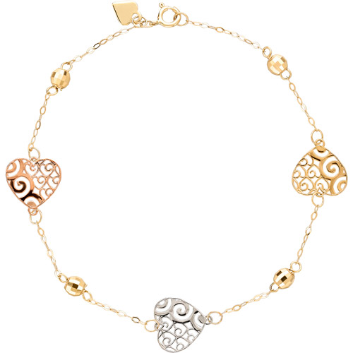"""Simply Gold 14kt Yellow, White and Rose Gold Heart and Bead Bracelet, 7.5"""""""