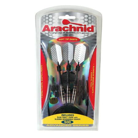 Arachnid Advanced Series 500 Gunmetal Finish 16-Gram Soft Tip Dart Set Includes Flights, Shafts, Points, and Case