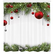 Christmas Shower Curtain, Noel Time Backdrop with Fir Pine Leaves Celebration Ball Classic Religious Design, Fabric Bathroom Set with Hooks, Multicolor, by Ambesonne