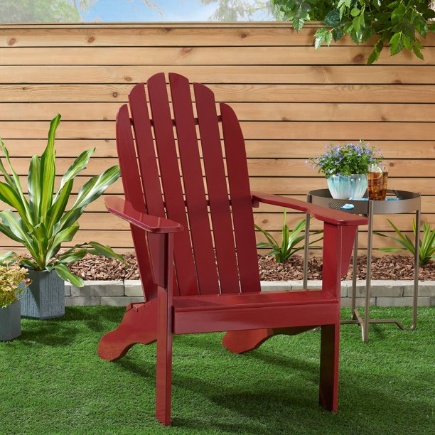 Mainstays Wooden Outdoor Adirondack Chair, Red Finish, Solid Hardwood