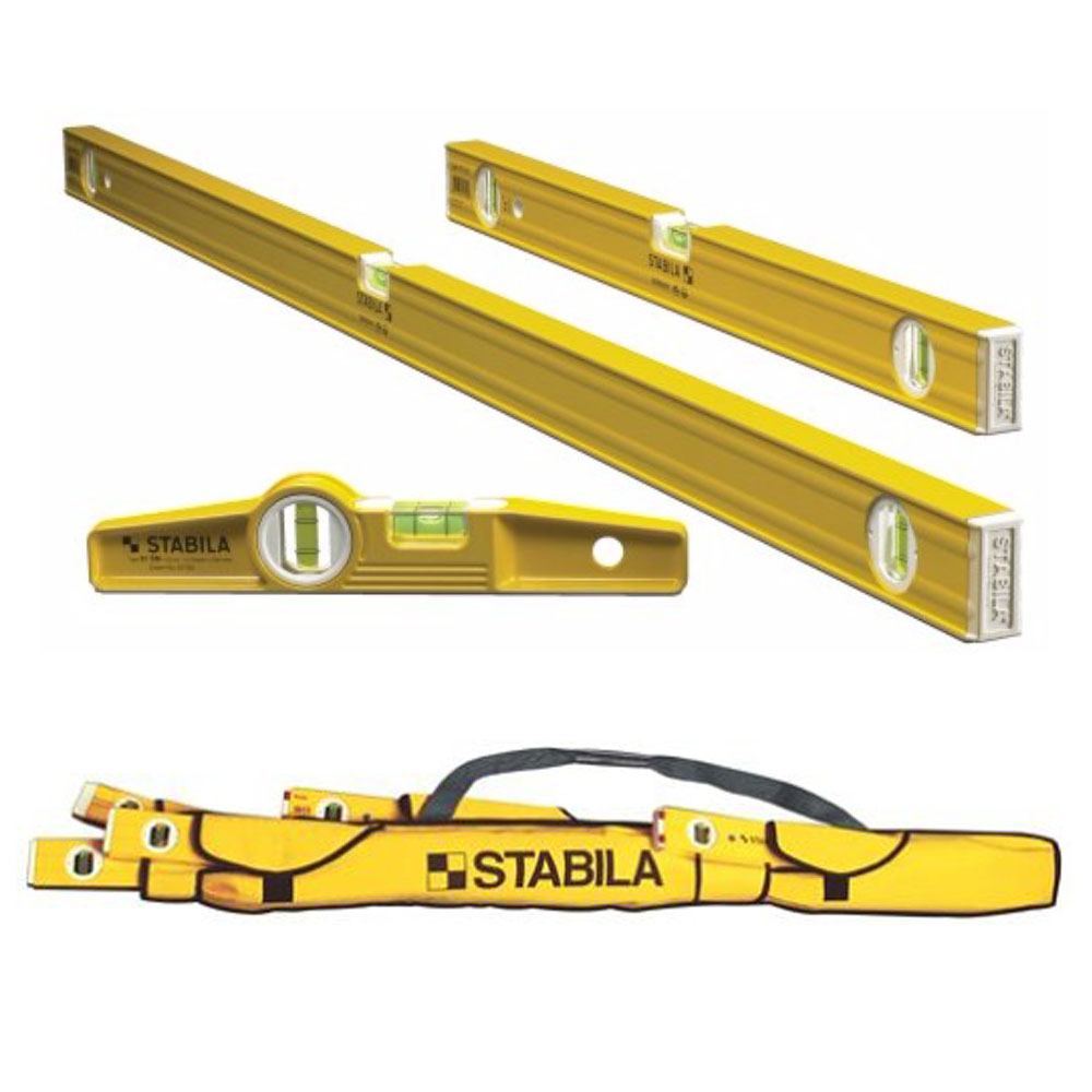 "Stabila 3 Level Pro-Set 48"", 24"" and Die-cast Torpedo Lev..."