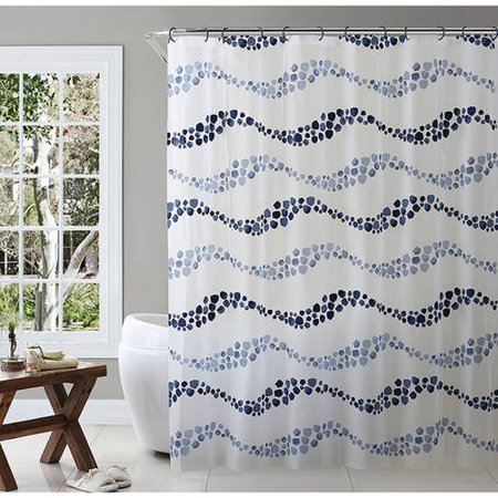 VCNY Home Dot Wave 14 Piece Tub Mat Set With Shower Curtain