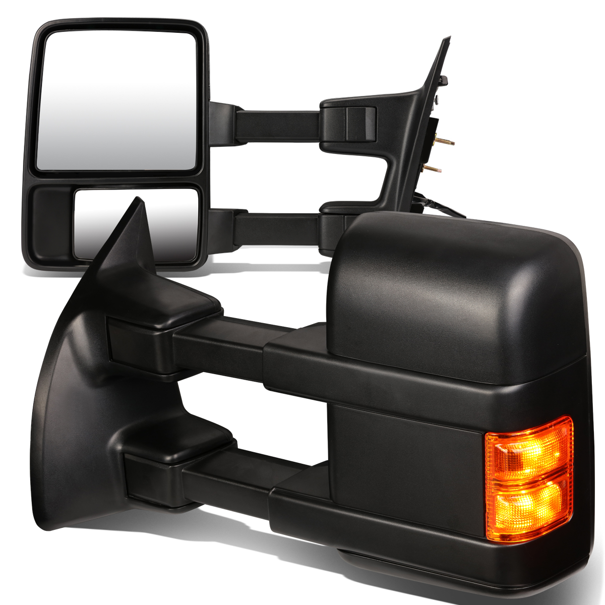 For 08-16 Super Duty Pair of Black Textured Telescoping Extendable + Amber Signal Side Towing Mirror 10 11 12 13 14 15
