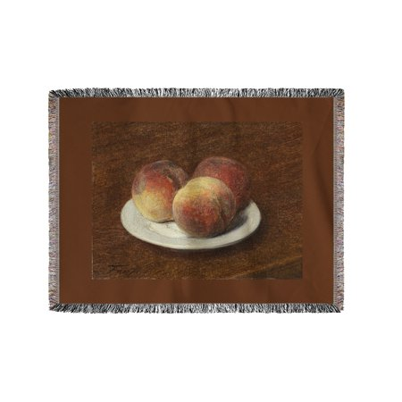 Three Peaches On A Plate   Masterpiece Classic   Artist  Henri Fantin Latour C  1868  60X80 Woven Chenille Yarn Blanket