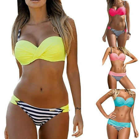 Women Sexy Bra-Sized Bikini Top & Bottoms Bathing Suit