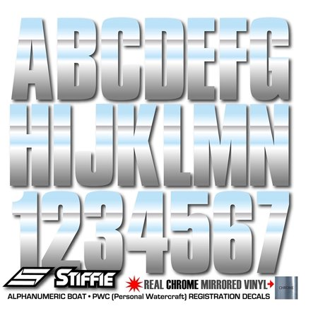 """STIFFIE Uniline Chrome 3"""" Alpha-Numeric Identification Custom Kit Registration Numbers & Letters Marine Stickers Decals for Boats & Personal Watercraft PWC"""