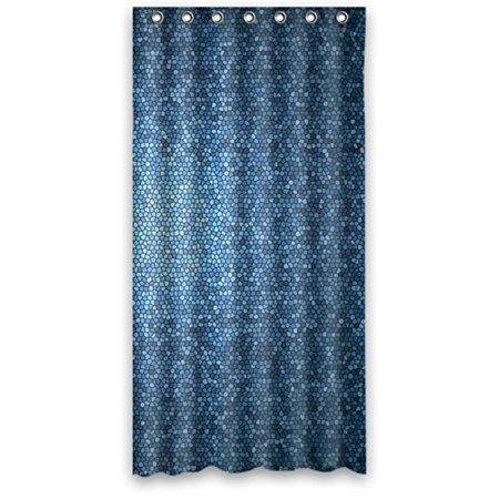 HelloDecor Illustrations Mosaic Royal Tardis Steel Blue Shower Curtain Polyester Fabric Bathroom Decorative Size 66x72
