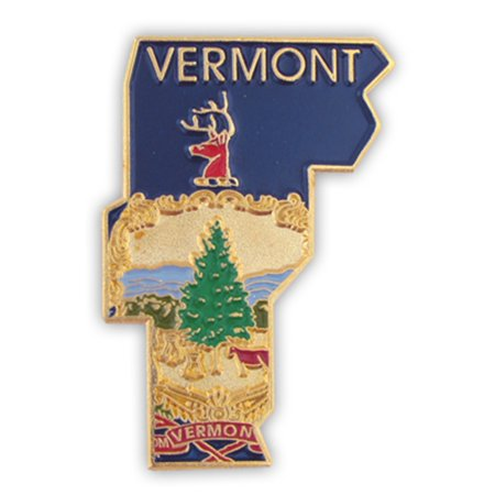 State Design Lapel Pin - PinMart's State Shape of Vermont  with Official Seal and Vermont Flag Lapel Pin