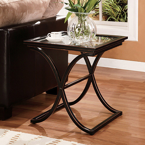 Vogue End Table, Metal & Glass