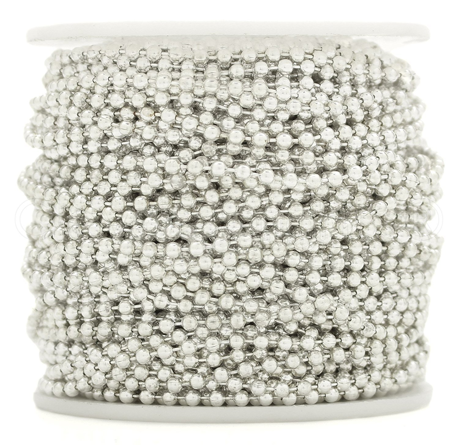 CleverDelights Ball Chain Spool - 100 Feet - Shiny Silver Color - 2.4mm Ball