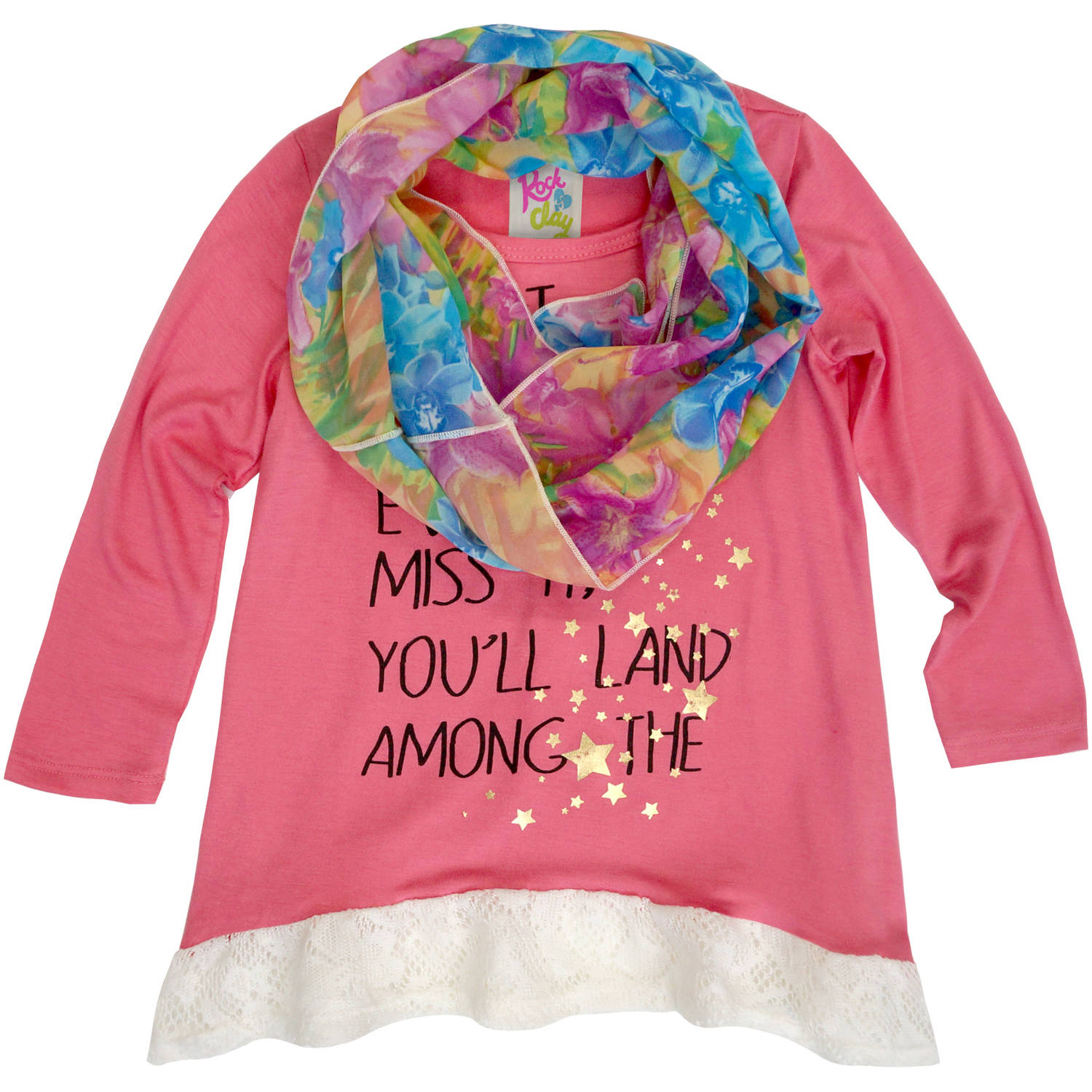 Rock & Clay Toddler Girl Stars Tee with Scarf