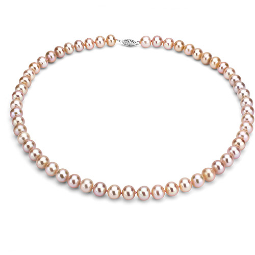 """Ultra-Luster 11-12mm Pink Genuine Cultured Freshwater Pearl 18"""" Necklace and Sterling Silver Filigree Clasp by ADDURN"""