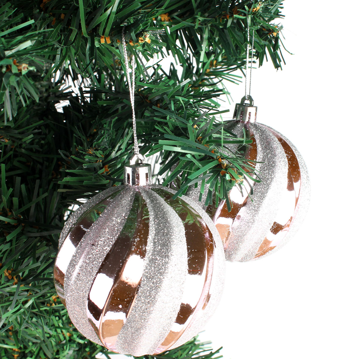 12-Pack 8cm Spiral Christmas Tree Hanging Balls Baubles Tree ...