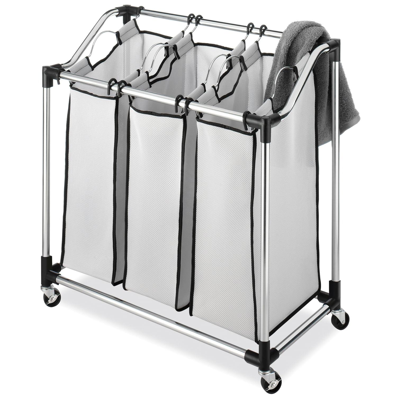 Whitmor Chrome Laundry Sorter with Foam Mesh Bags