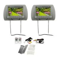 "Pair Rockville RHP7-GR 7"" Grey TFT-LCD Car Headrest TV Monitors w/ Speakers+IR"