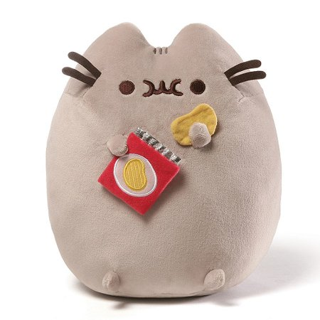 gund pusheen snackables potato chip cat plush stuffed animal, gray, 9.5