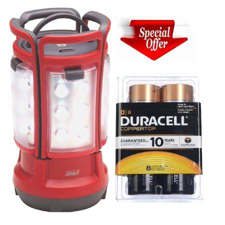 Coleman Quad LED Lantern Special Edition Ultra Bright 190 Rechargable Lumens, Red Coleman Led Quad Lantern
