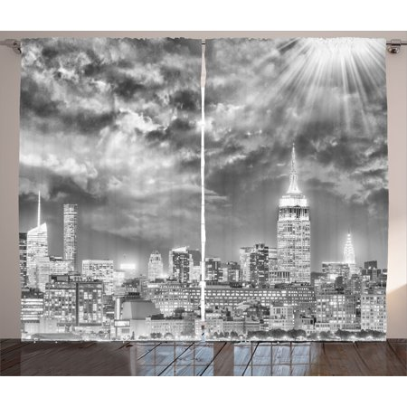 Urban Curtains 2 Panels Set, Dramatic New York City Skyline Sun Beams Clouds Skyscrapers Monochrome Landscape, Window Drapes for Living Room Bedroom, 108W X 96L Inches, Black White, by Ambesonne