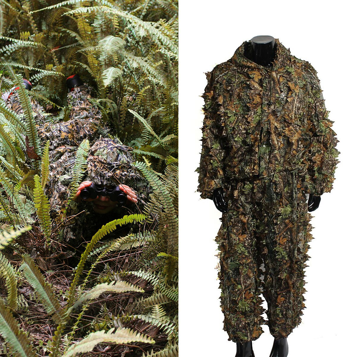 OUTERDO Ghillie Suit Camo Woodland Camouflage Clothing Forest Hunting Shooting Wildfowling Stalking Wildlife Photography Camo Jungle Suit Set