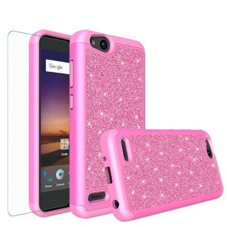 ZTE Tempo X Case, Blade Vantage, Zfive G, Zfive C, Slim Glitter Bling Hybrid w/ HD Screen Protector Shockproof Cover - Hot Pink