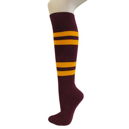 Couver Cotton Maroon Striped Softball Baseball Sports Knee High Tube Socks, Golden Yellow Medium