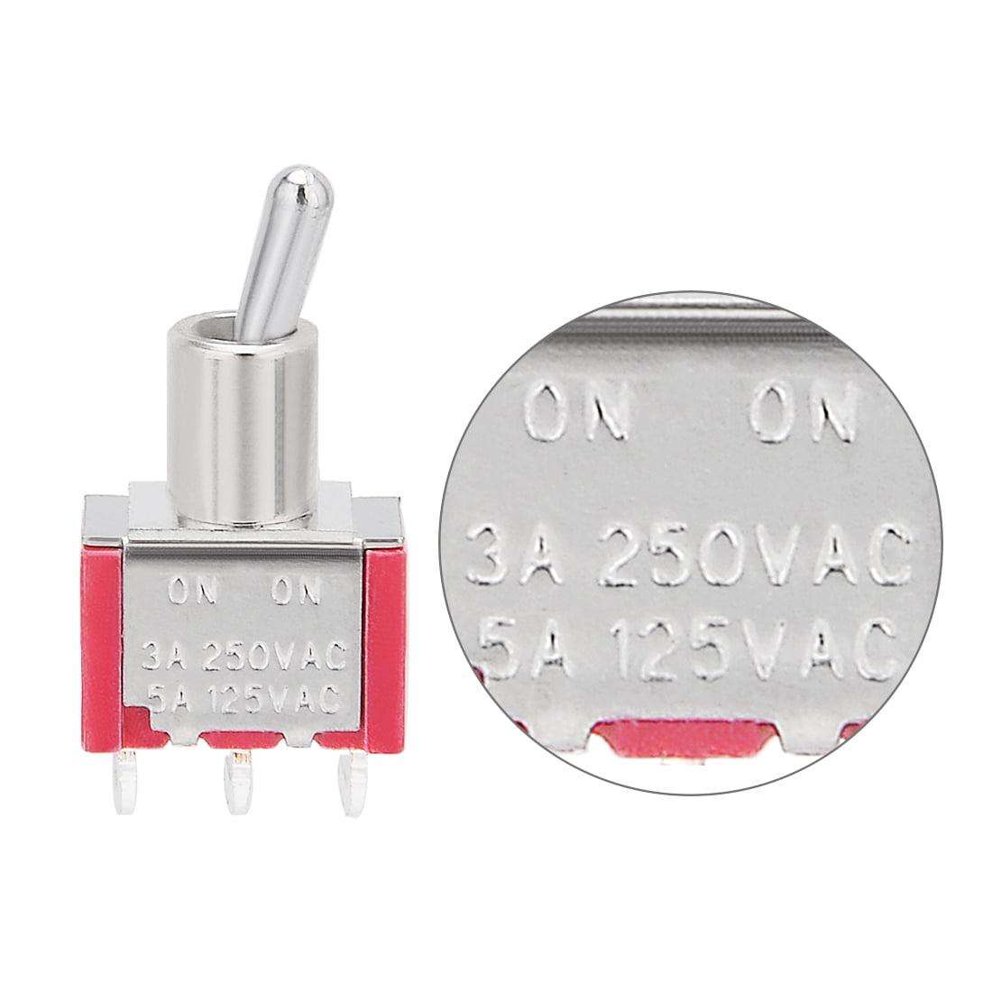 AC 250V/3A 125V/5A ON/ON SPDT interrupteur à bascule ton argent bornes angle droit - image 3 de 4