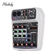 Muslady AI-4 Compact Mixing Console Digital Audio Mixer 4-Channel BT MP3 USB Input +48V Phantom Power for Music Recording DJ Network Live Broadcast Karaoke