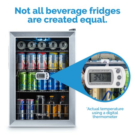 NewAir 90 Can Freestanding Beverage Fridge in Stainless Steel, Compact with Adjustable Shelves