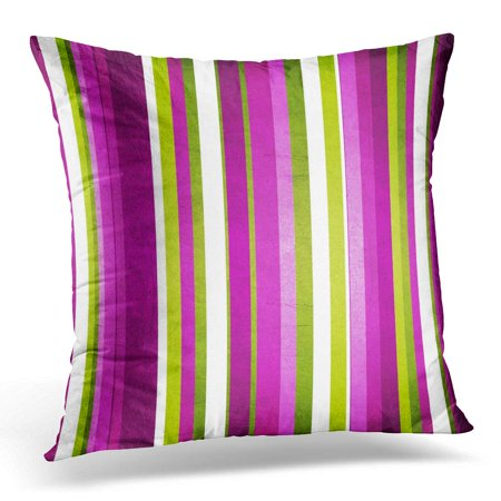 ECCOT Pink Funky Retro Stripe Pattern in Green Purple White and Violet Colorful Line Pillowcase Pillow Cover Cushion Case 16x16 inch