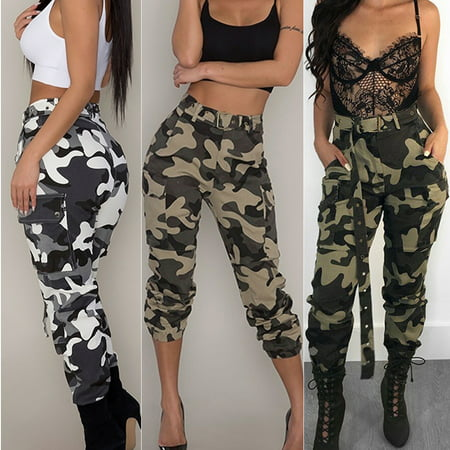 f9878bf032c7c Womens Camo Cargo Trousers Casual Pants Military Army Combat Camouflage  Jeans - Walmart.com