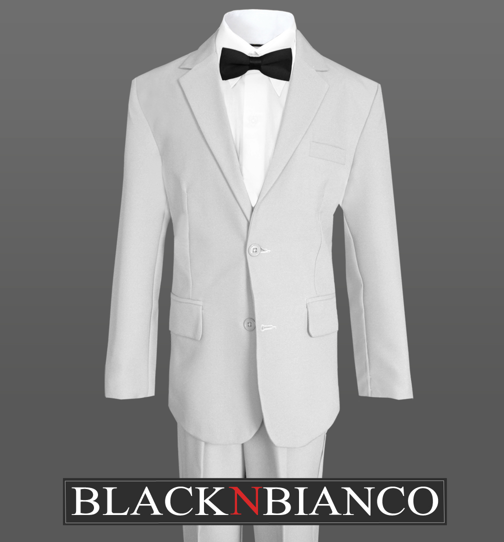 Formal Boy Kids Tuxedo Suit in Black with A Silver Neck Tie and Black Bow Tie