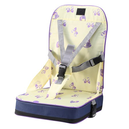 Foldable Toddler Baby Dining Booster Kids Infant Portable Seat Cushion Bag High Chair Soft Pad w/ Adjustable Fixing Belt for Home Eating Travel