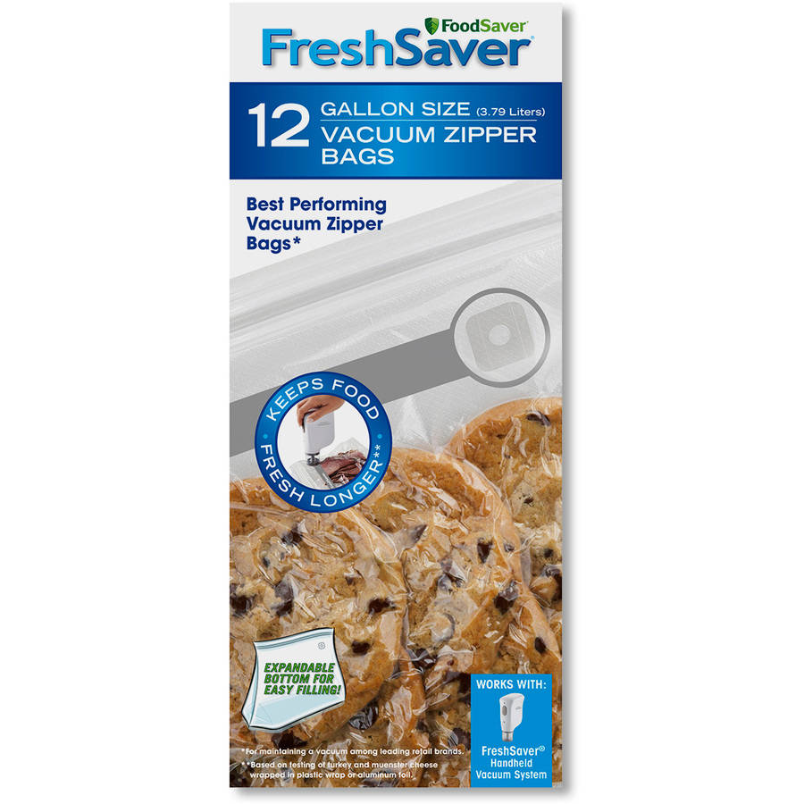 FoodSaver FreshSaver Gallon-Size Zipper Bags, 12-Count