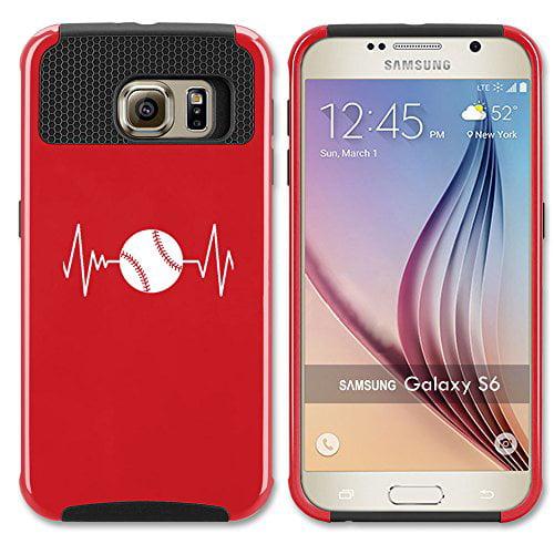 For Samsung Galaxy S7 Edge Shockproof Impact Hard Soft Case Cover Heart Beats Softball Baseball (Red)