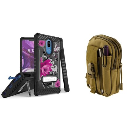 BC [Tri-Shield Series] Case Bundle for LG Stylo 5/LG Stylo 5+ Plus with Military Grade (MIL-STD 810G-516.6) Certified Rugged Cover (Lotus Vine), Tactical Travel Pouch (Khaki) and Atom Cloth