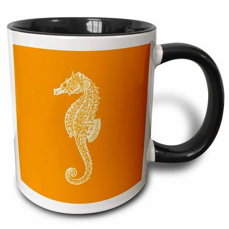 3dRose Orange seahorse print Sea Horse Ocean marine beach aquarium aquatic - Two Tone Black Mug, 11-ounce (Megaman E Tank Mug)