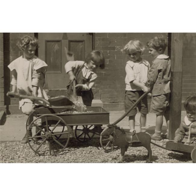 Buy Enlarge 0-587-46126-LP20x30 Children Load stones in Wagon with Shovel- Paper Size P20x30